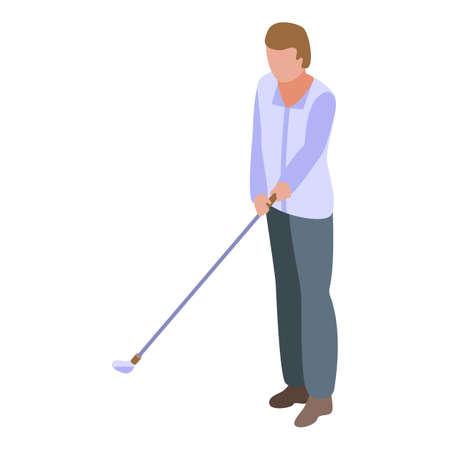 Golf player icon, isometric style Illustration