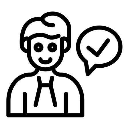 Certificate manager approved icon, outline style Vettoriali