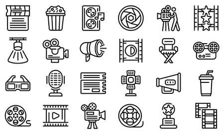 Cinematographer icons set, outline style Vektorové ilustrace