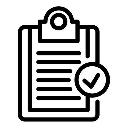Norm certificate clipboard icon, outline style Vettoriali