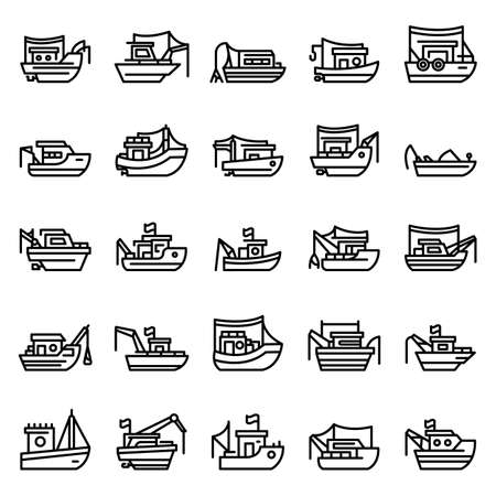 Fishing boat icons set, outline style