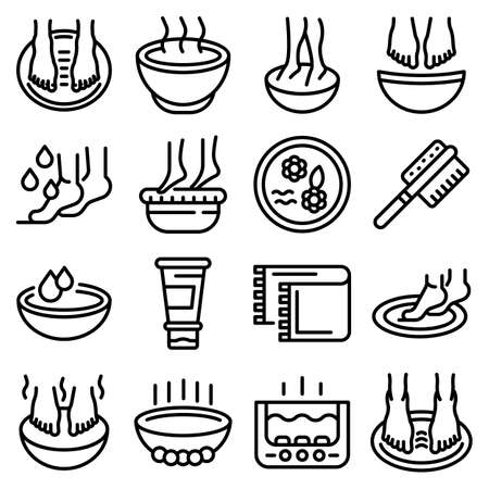 Foot bath icons set, outline style