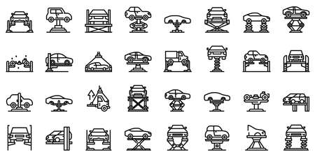 Car lift icons set, outline style