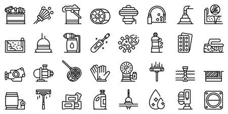 Pool cleaning icons set, outline style