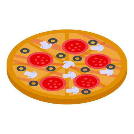 Greek pizza icon, isometric style Vetores