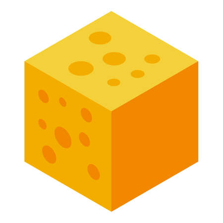 Cube cheese icon, isometric style