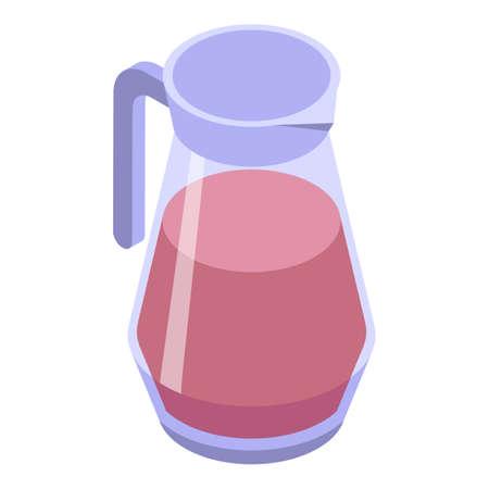 Fresh juice jug icon, isometric style Vectores