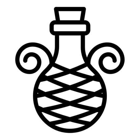 Wine greek vase icon, outline style