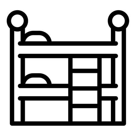 Quiet spaces bunk bed icon, outline style