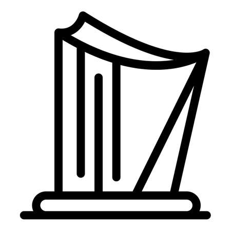 Music harp icon, outline style