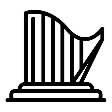 Ancient harp icon, outline style Illustration