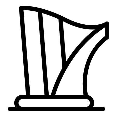 Art harp icon, outline style