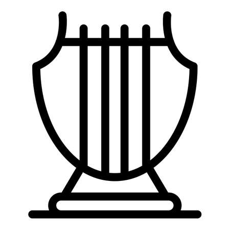 Greek harp icon, outline style