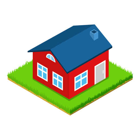 Red house icon, isometric style