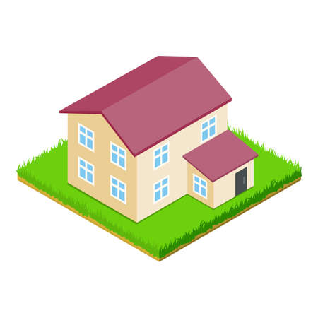 Countryside house icon, isometric style