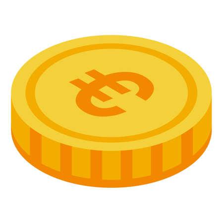Euro token icon, isometric style