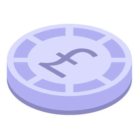 Pound token icon, isometric style Çizim