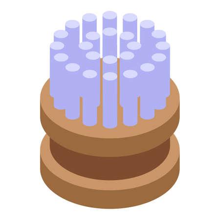 Washcloth brush icon, isometric style