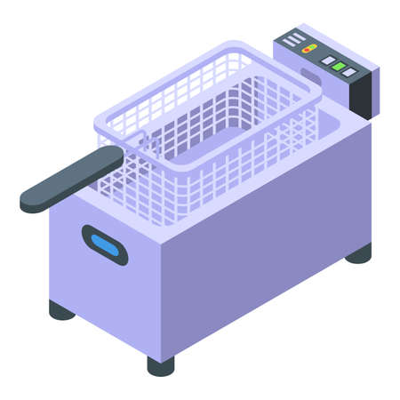 Deep fryer basket icon, isometric style