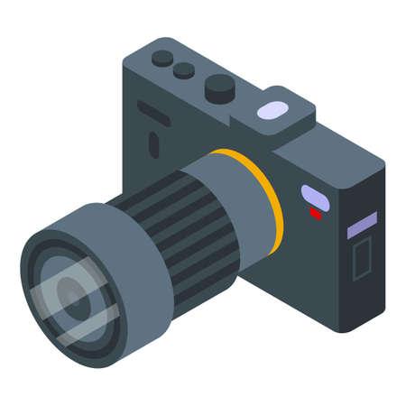 Dslr camera icon, isometric style