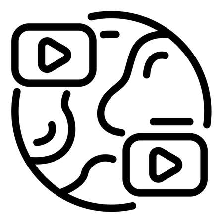 Global online meeting icon, outline style Ilustrace