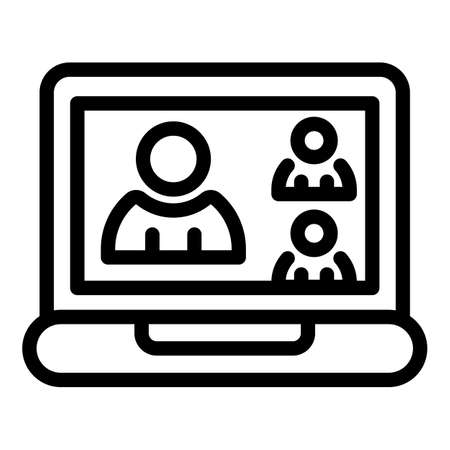 Family online meeting icon, outline style
