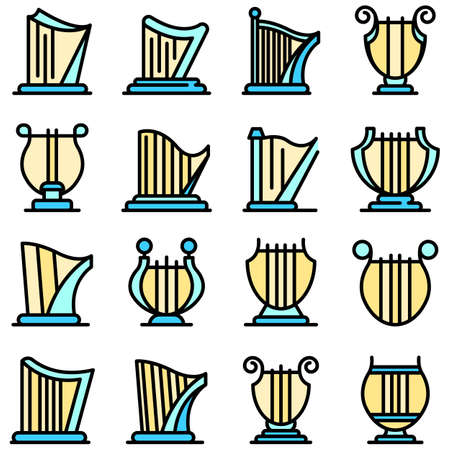 Harp icons set vector flat