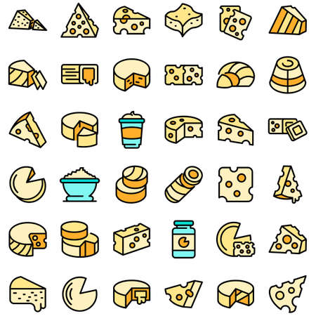 Cheese icons set vector flat