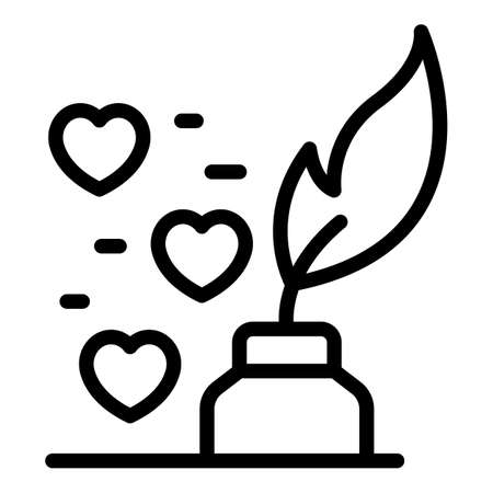 Feather trust icon, outline style