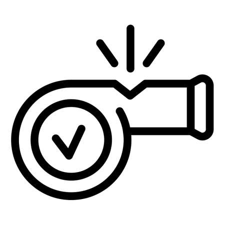 Referee whistle icon, outline style