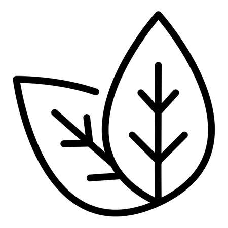 Basil plant leaf icon, outline style  イラスト・ベクター素材