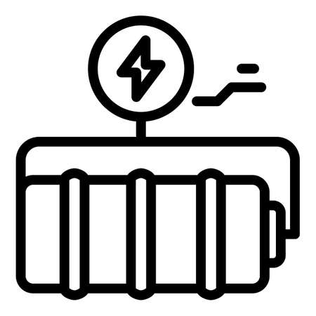 Battery icon, outline style  イラスト・ベクター素材
