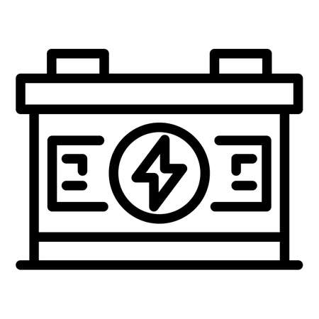 Full car battery icon, outline style