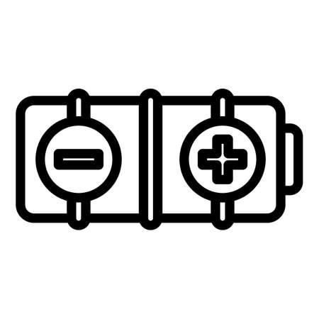 Cell battery icon, outline style