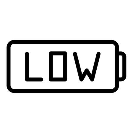 Low car battery icon, outline style
