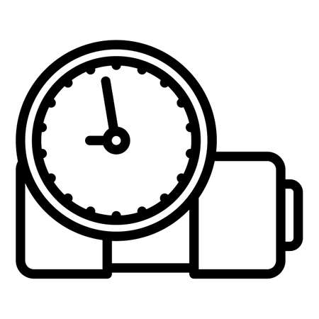 Time clock battery icon, outline style  イラスト・ベクター素材