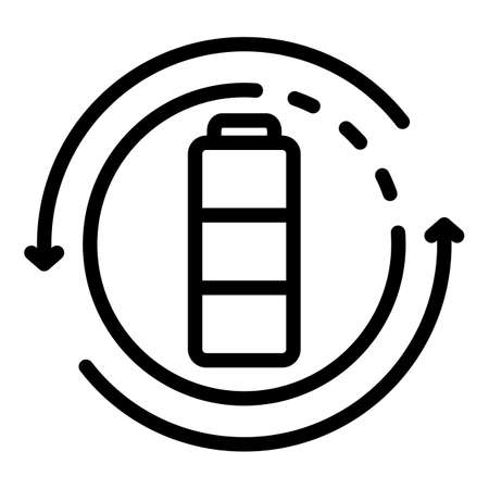 Recycle battery icon, outline style  イラスト・ベクター素材