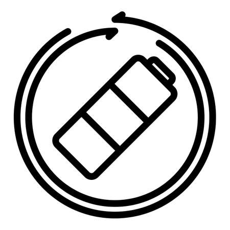 Eco battery icon, outline style  イラスト・ベクター素材