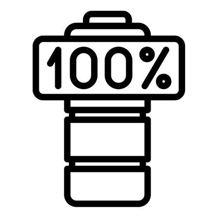 Full 100 percent battery icon, outline style