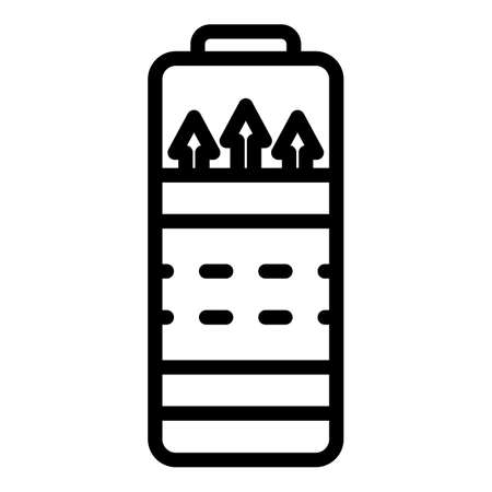 Charging battery process icon, outline style  イラスト・ベクター素材