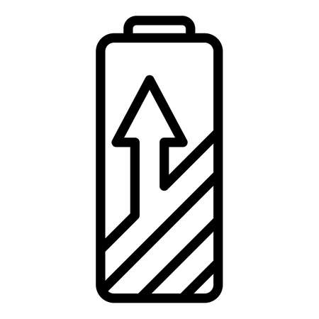 Home charging battery icon, outline style