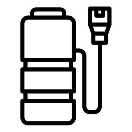 Plug charge battery icon, outline style  イラスト・ベクター素材
