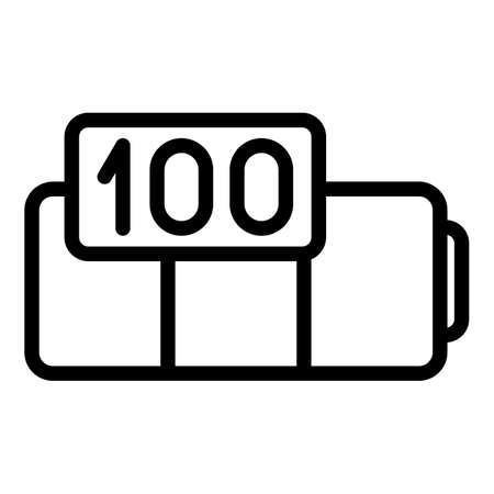 Car full battery icon, outline style