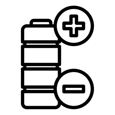 Plus minus battery icon, outline style  イラスト・ベクター素材