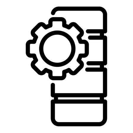 Gear wheel battery icon, outline style