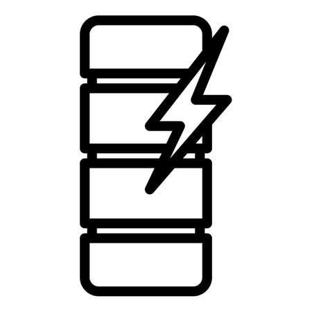 Voltage charge battery icon, outline style