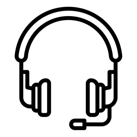 Headset icon, outline style  イラスト・ベクター素材
