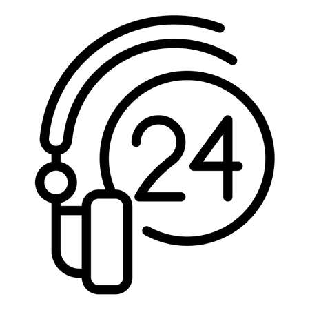 24 hours headset icon, outline style