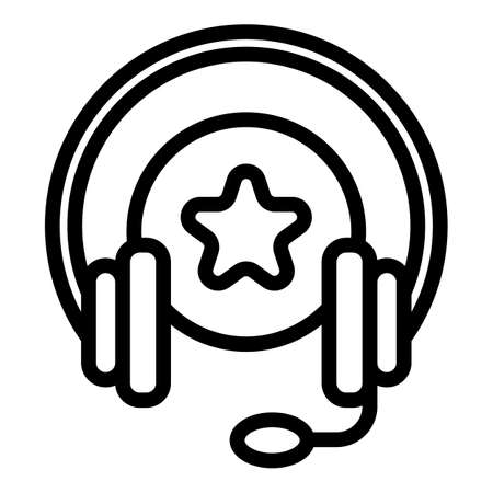 Cord audio headset icon, outline style