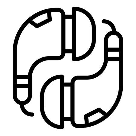 Smartphone headset icon, outline style
